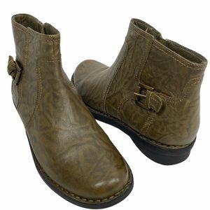 Clarks Bendables Olive Green Brown Buckle Zip Boot